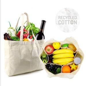 Canvas grocery bags with inside bottle pockets